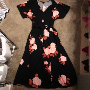 Who What Wear Black Floral Midi Dress Size Large